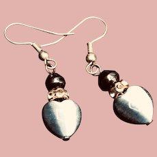 Vintage Gray Silver Hematite Pierced Earrings