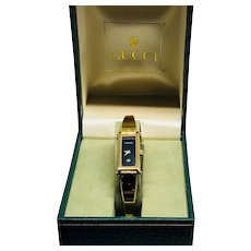 Vintage 1980s Gucci Lady's Wrist Watch with Black Face in Original Box