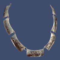 Vintage Designer Sterling and Gold Necklace - Accent Piece