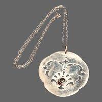 Vintage Designer Jade Sterling Pendant Necklace - Striking