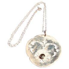 Vintage Designer Jade Sterling Pendant Necklace