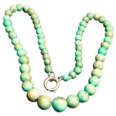 Vintage Natural Turquoise Graduated Beads Necklace - 1940s