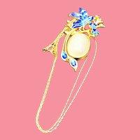Vintage Chinese Handmade Hetian Jade Cloisonne Lucky Bird Pendant Necklace
