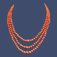 Triple Strand Graduated Natural Salmon Coral Beads Necklace 14K Coral Clasp