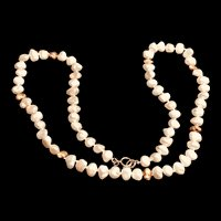 Vintage 14K Yellow Gold Nuggets and Baroque Pearls Necklace