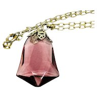1920s Art Deco Czech Amethyst Glass and Silver Necklace