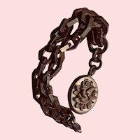 Victorian Bog Oak Carved Pendant Necklace