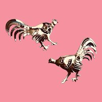 Pair of Handmade Gold-over-sterling Chicken Brooches