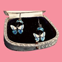 Vintage 1970s Cloisonné and Sterling Bell Flower Butterfly Pierced Earrings