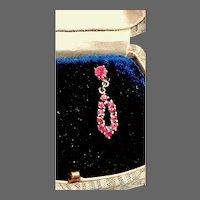 Vintage Genuine Ruby and Sterling Dangle Earrings