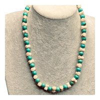Vintage Carved Bovine Bone and Turquoise Bead Necklace