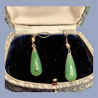 Vintage 14kt GF Nephrite Jade Dangle  Earrings