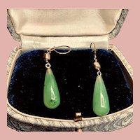 Vintage 14kt GF Nephrite Jade Dangle  Earrings