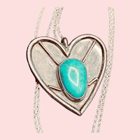 Sterling Turquoise Heart Pendant Necklace