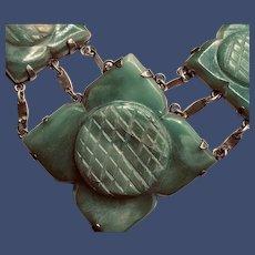 Art Deco Carved Jade Necklace
