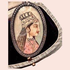 Vintage Sterling Necklace Hand Painted Oriental Lady Miniature Portrait Necklace