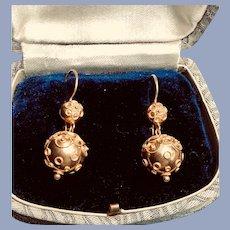 18K Gold Etruscan Revival Dangle Earrings