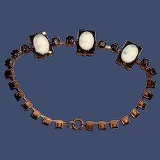 Vintage 1930s Brass and Glass Cameo Bracelet