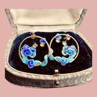Cloisonne Clouds Moonstone Original Design 14k Gold Plated Earrings