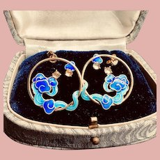 Cloisonne Clouds Moonstone Original Design 14k Gold Plated Earrings