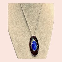 Large and Lovely Sterling Lapis Statement Pendant/Brooch Necklace