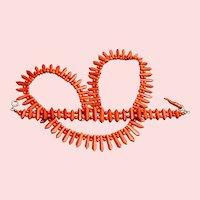 Vintage Salmon Coral Demi-parure - Necklace and Bracelet