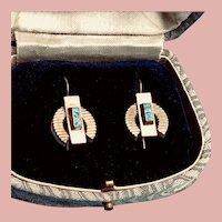 Art Deco 12K Yellow Gold and Enamel Earrings