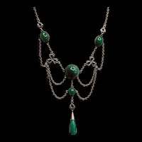 Art Deco Art Deco and Sterling Festoon Necklace