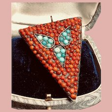 Vintage Brass and Faux Coral and Turquoise Arrow Pendant