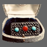 Vintage Brutalist Sterling Turquoise and Coral Brooch