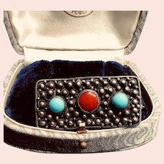 Vintage Brutalist Sterling Turquoise and Coral Brooch