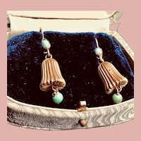 Vintage 14K Gold and Turquoise Bell Shaped Dangle Earrings