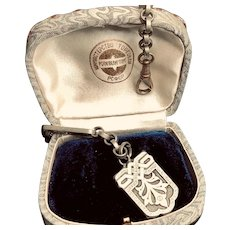 Antique Silver Watch Chain and Fob - 1900
