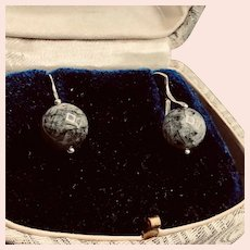 Rutilated Rock Black Quartz Sterling Earrings