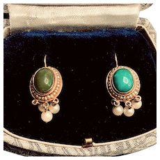 Turquoise with Pearl Halo 14K Gold Earrings