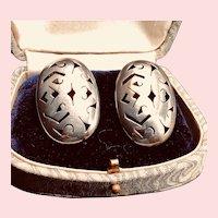 Vintage Mexican Sterling Silver Pierced Earrings - Large Filigree