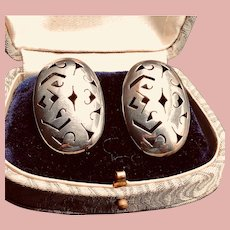 Vintage Mexican Sterling Silver Pierced Earrings - Large Filigree