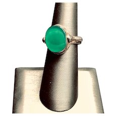 Lovely Sterling and Chrysoprase Ring - Sz 7 3/4 US