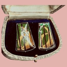1982 Sterling Hand Painted Green/Black/Gold Pierced Earrings
