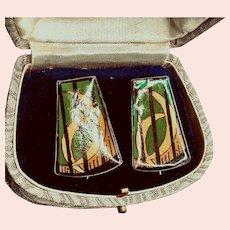 1982 Sterling Hand Painted Green/Black/Gold Pierced Earrings