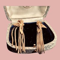Graceful French Mesh 18K Vermeil Dangle Chain Earrings Pierre Lorion Sylvia Karels Paris