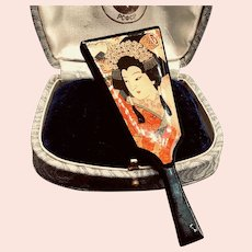 Japanese Black Lacquer Mirror-shaped Brooch