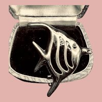 Vintage Mexican Sterling and Enamel Angel Fish Brooch