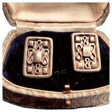 Unusual Modernist Design Sterling Silver Earrings