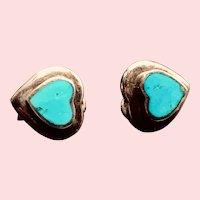 Sterling Silver Bezel Set Turquoise Heart-shaped Lever-back Earrings