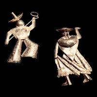 Vintage Sterling Hombre and Mujer Brooches from Peru