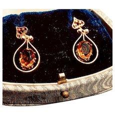 Antique Citrine 14K Yellow Gold Dangle Earrings