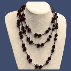 Vintage French Jet Faceted Bead Extra Long Flapper Necklace