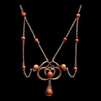 Art Deco Coral Glass Gold Plated Festoon Necklace