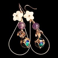 Cloisonne Amethyst Shell Flower 14k Gold Plated Dangle Drop Earrings